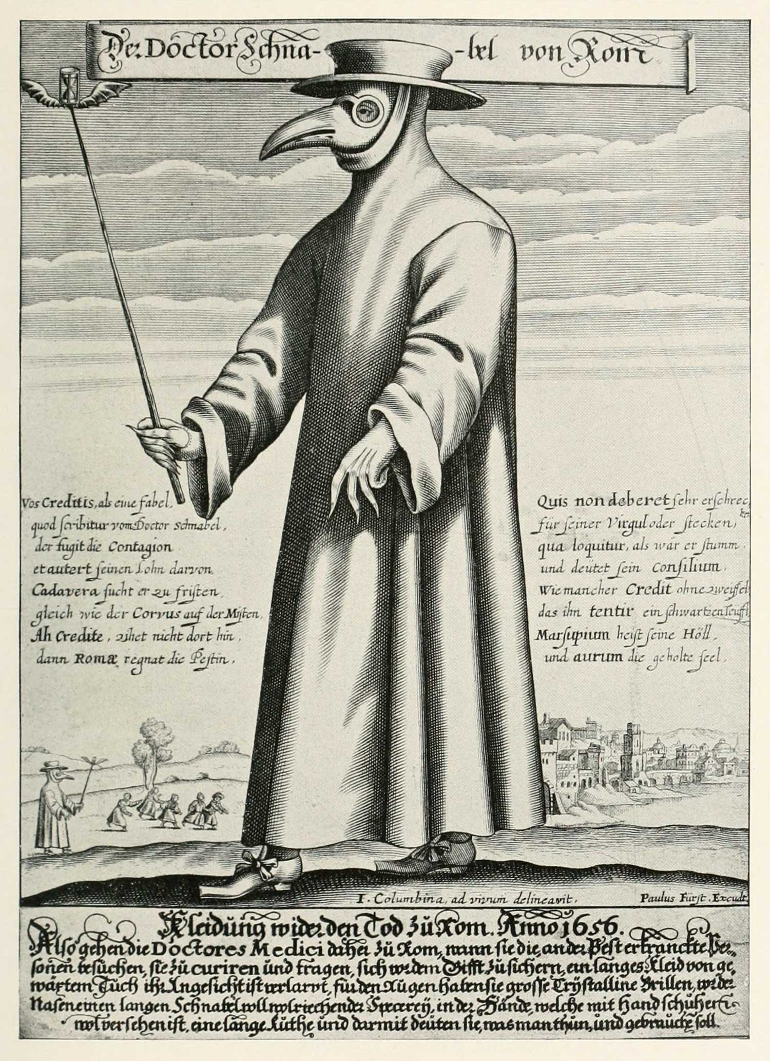 Engraving of a plague doctor from 1656.