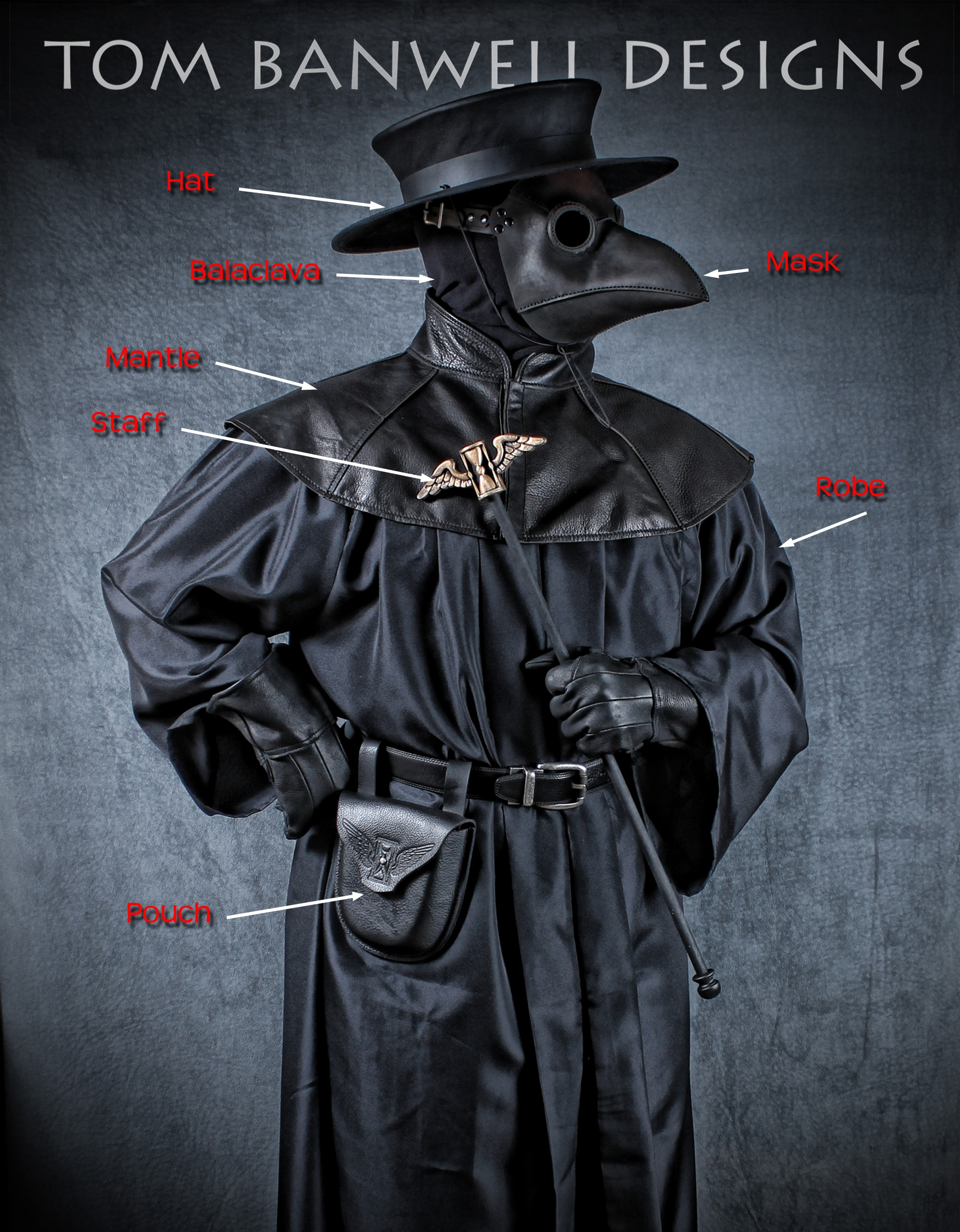 "The full costume with our Classic plague doctor mask, 7"" formed pouch with embossed flying hourglass, and 24"" staff with flying hourglass topper in antique gold"