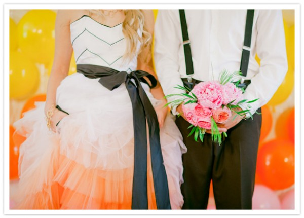 blush orange peach ombre gown, with black sash and darting.
