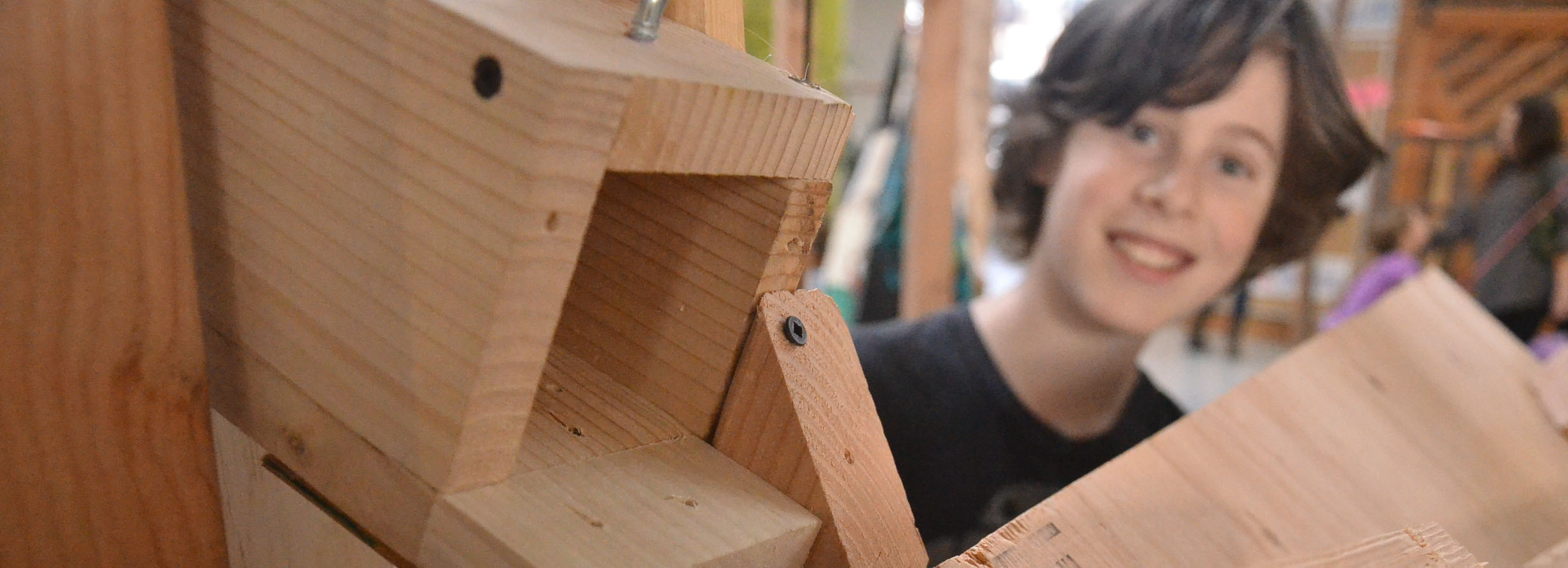 One stage in a massive Rube Goldberg Machine make by kids ages 6-12