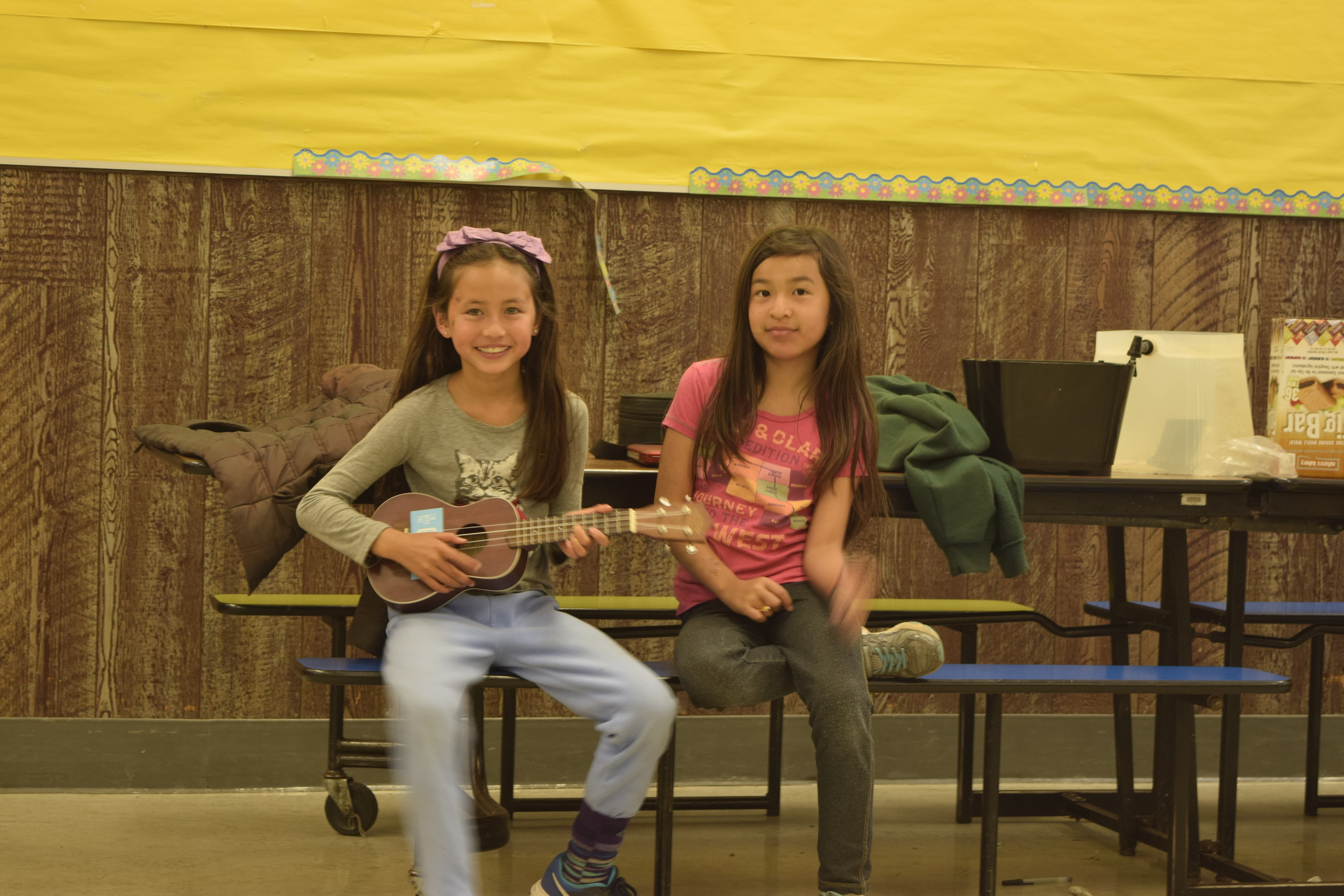 Alexandra and Aime, with Josh's ukelele.