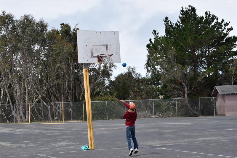 Basketball with a four-square ball.
