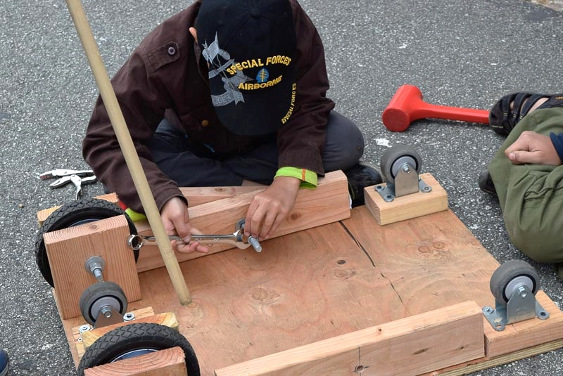 Attaching the brakes so that they turn is the perfect job for a bolt.