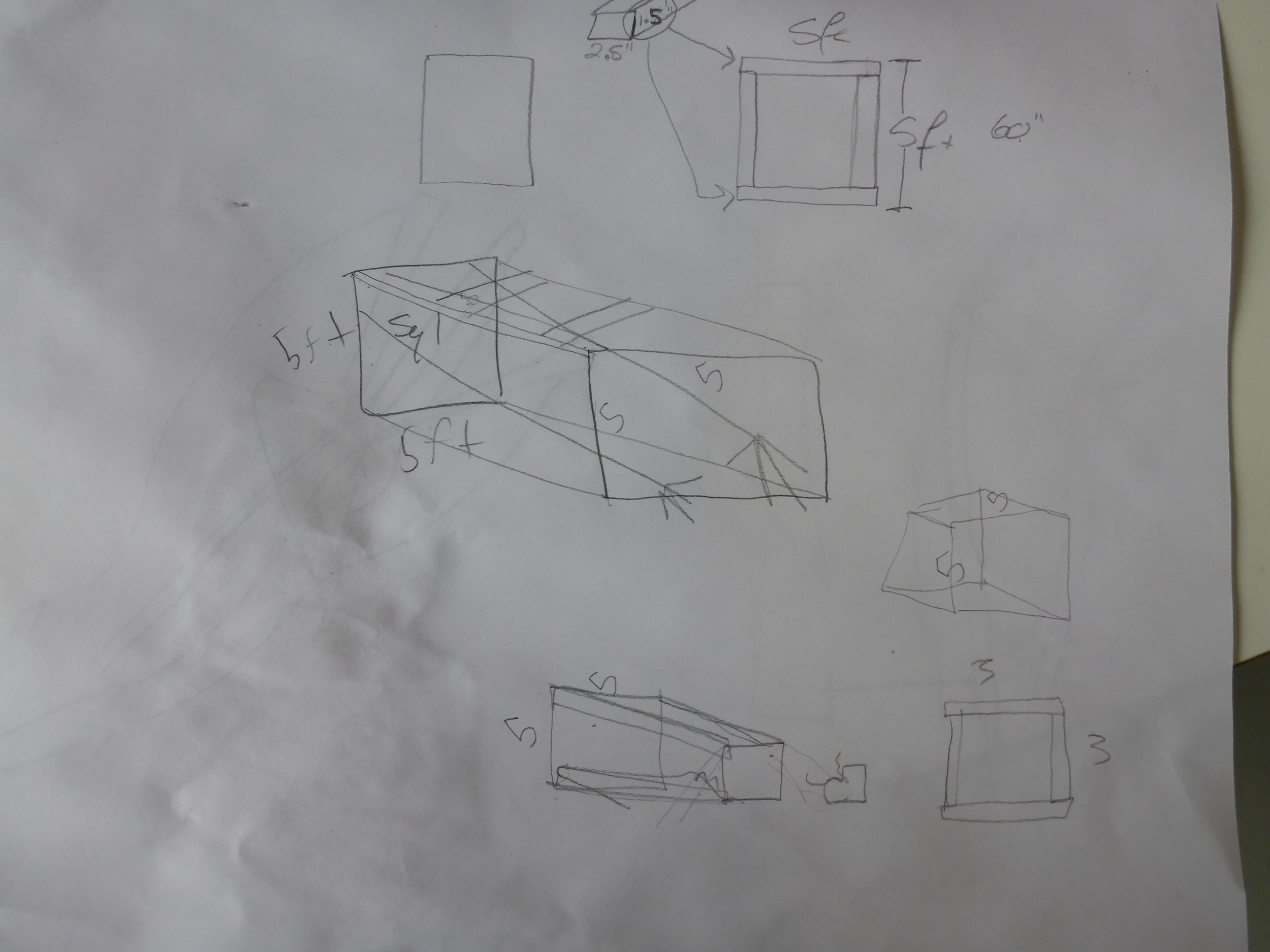 Here's an early design drawing of the structure to hold the 'arms.'