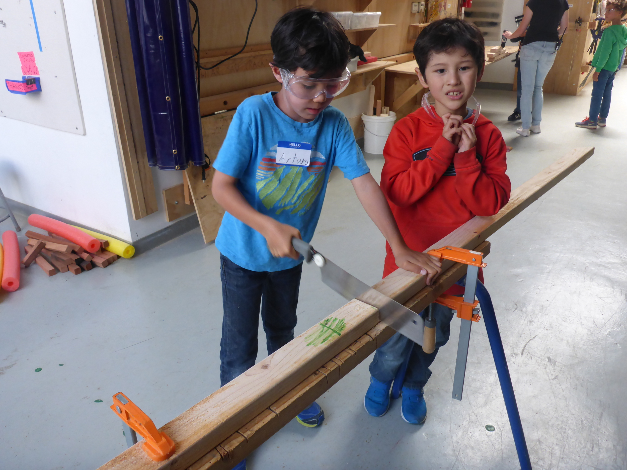 Jett and Arturo are on a quest to test out every saw in the shop to see how they each cut.