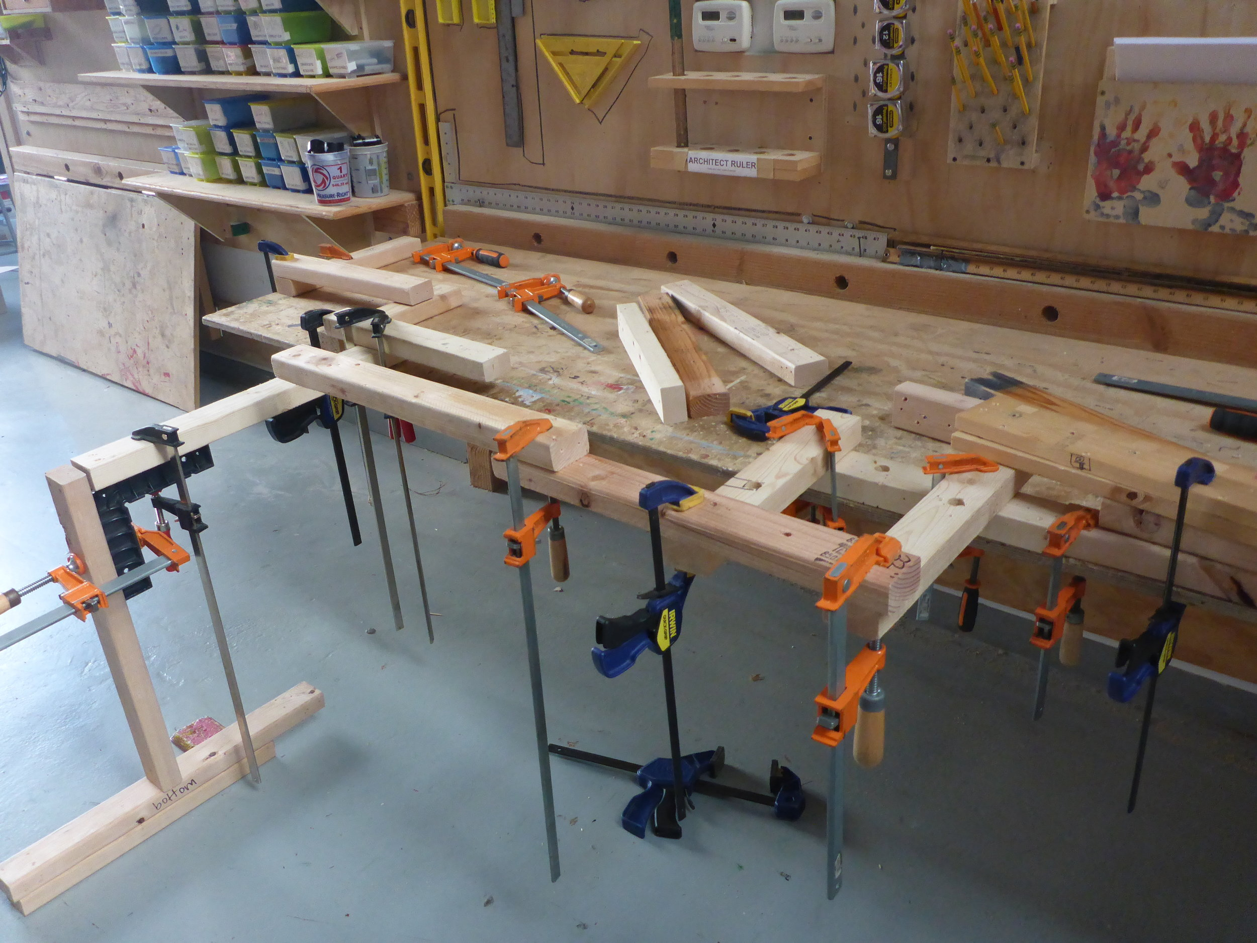 Soon we learned how to clamp in many complex ways, and created this cantilevering contraption