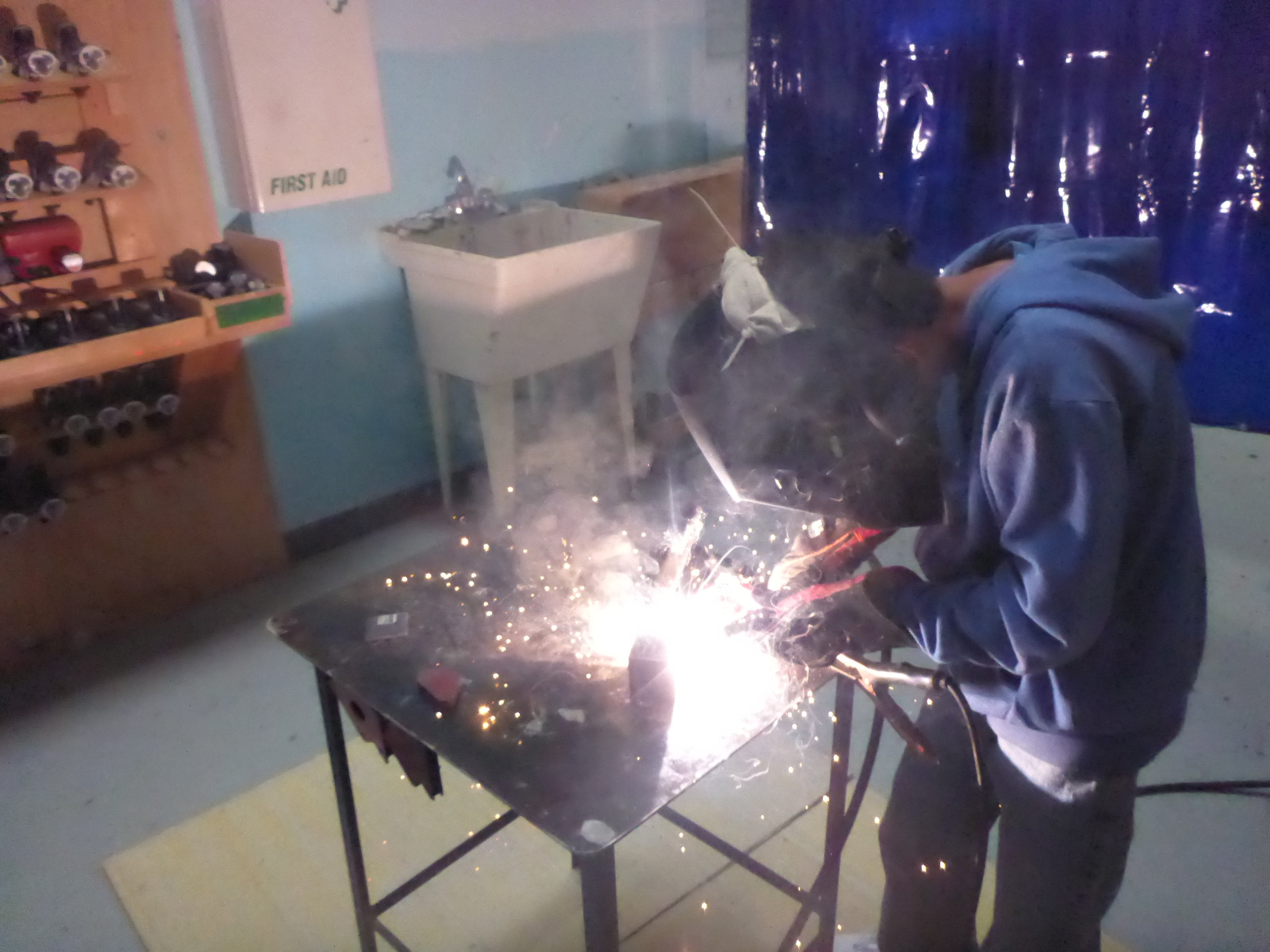 Jay welds two sides of his box together!