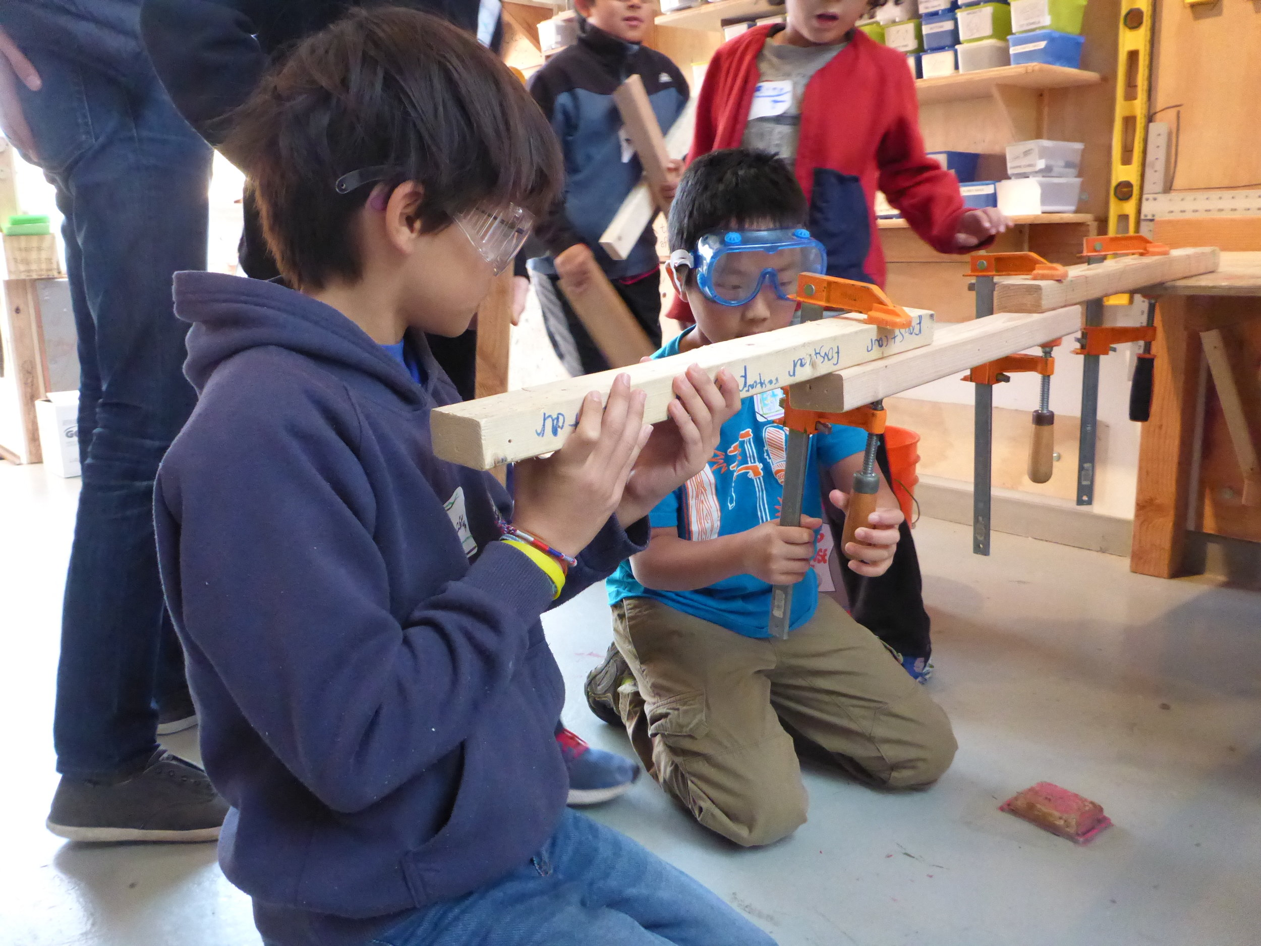 Also! We practiced using clamps to make silly structures.