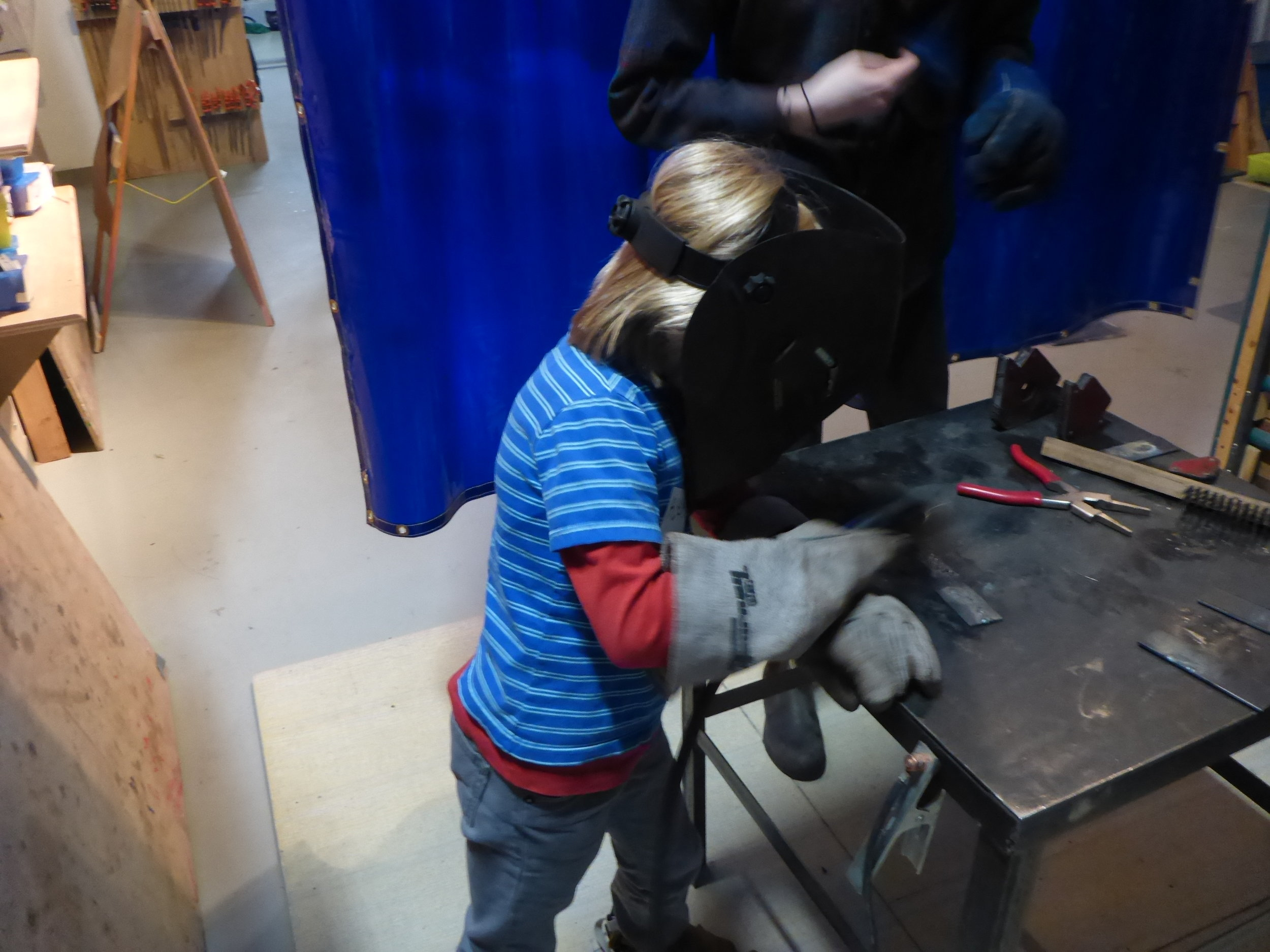 Alex perfecting his 'Ready to Weld' stance.