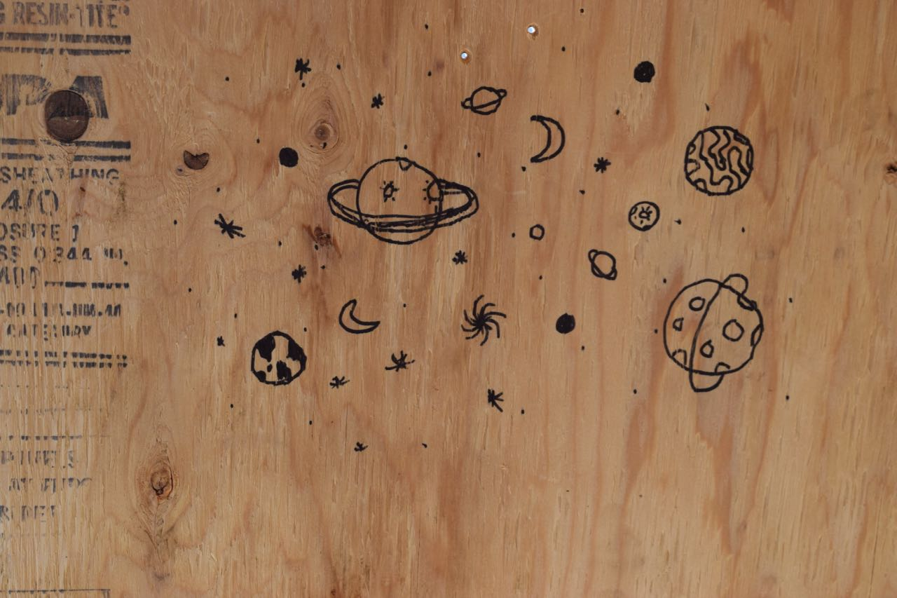 Sharpie on plywood makes for SPACE!