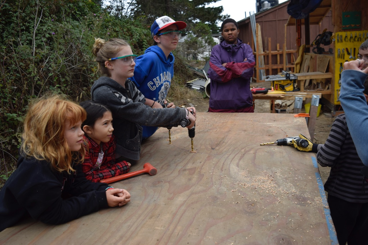 Team Panda works on their ply-wood part of their platform.