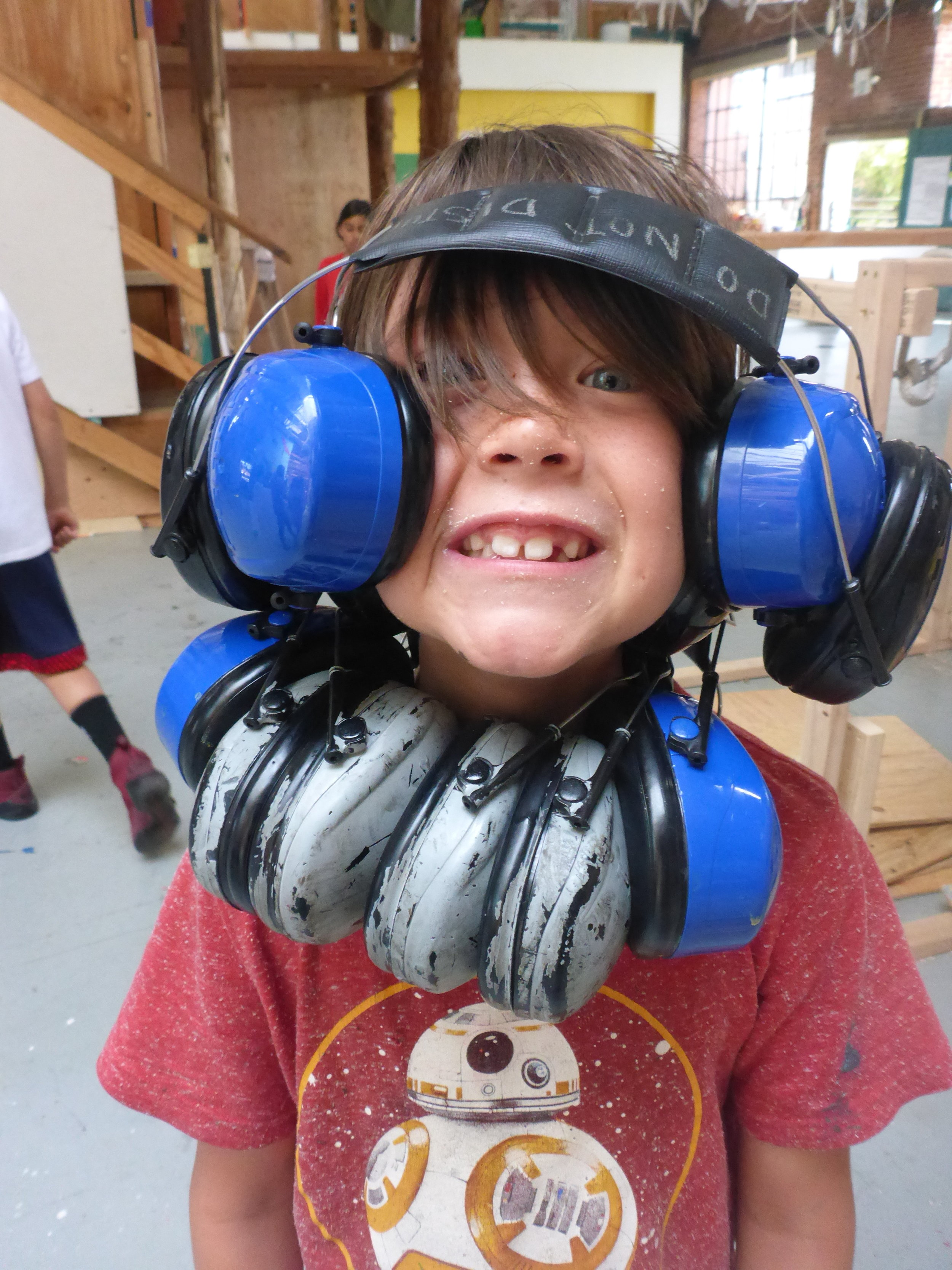 "Introducing the ""ear muff man!"" Tinkering is clearly all business and no play ;-)"