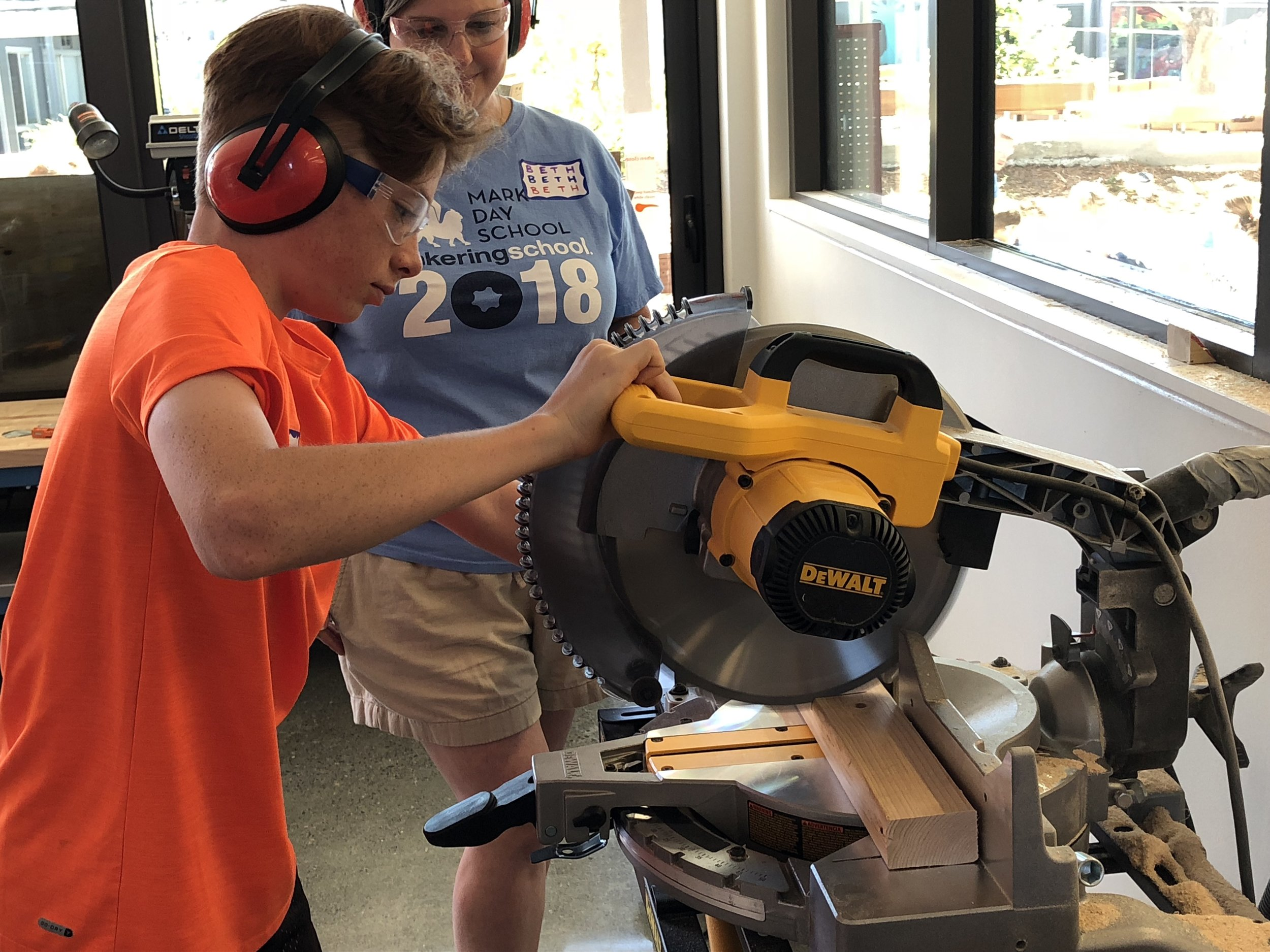 The chop saw is a popular first day tool because of the many short and long pieces of 2x3 we need for our builds.