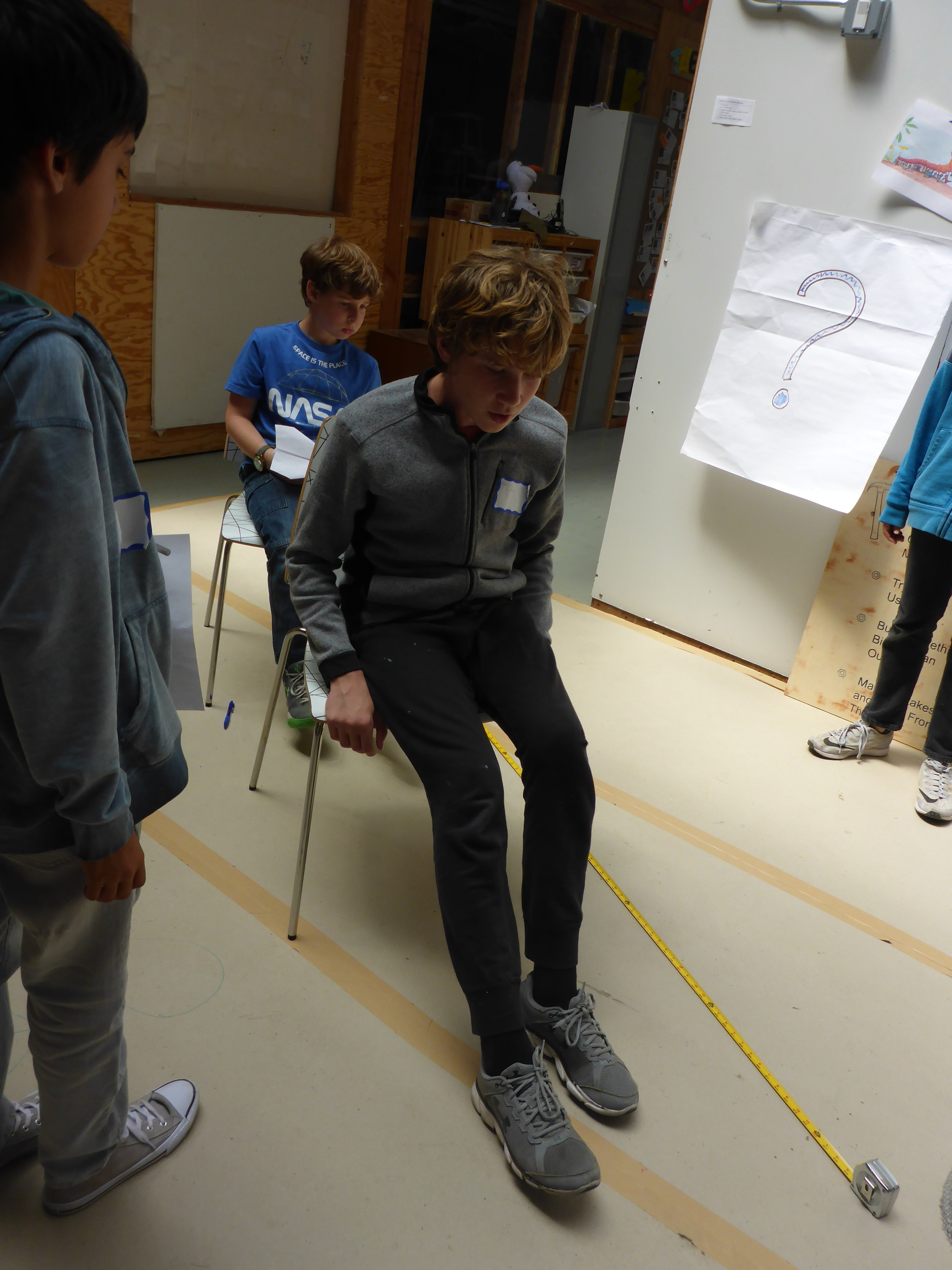 The kids discovered chairs and props are a great way to figure out the most ergonomical dimensions for a project!