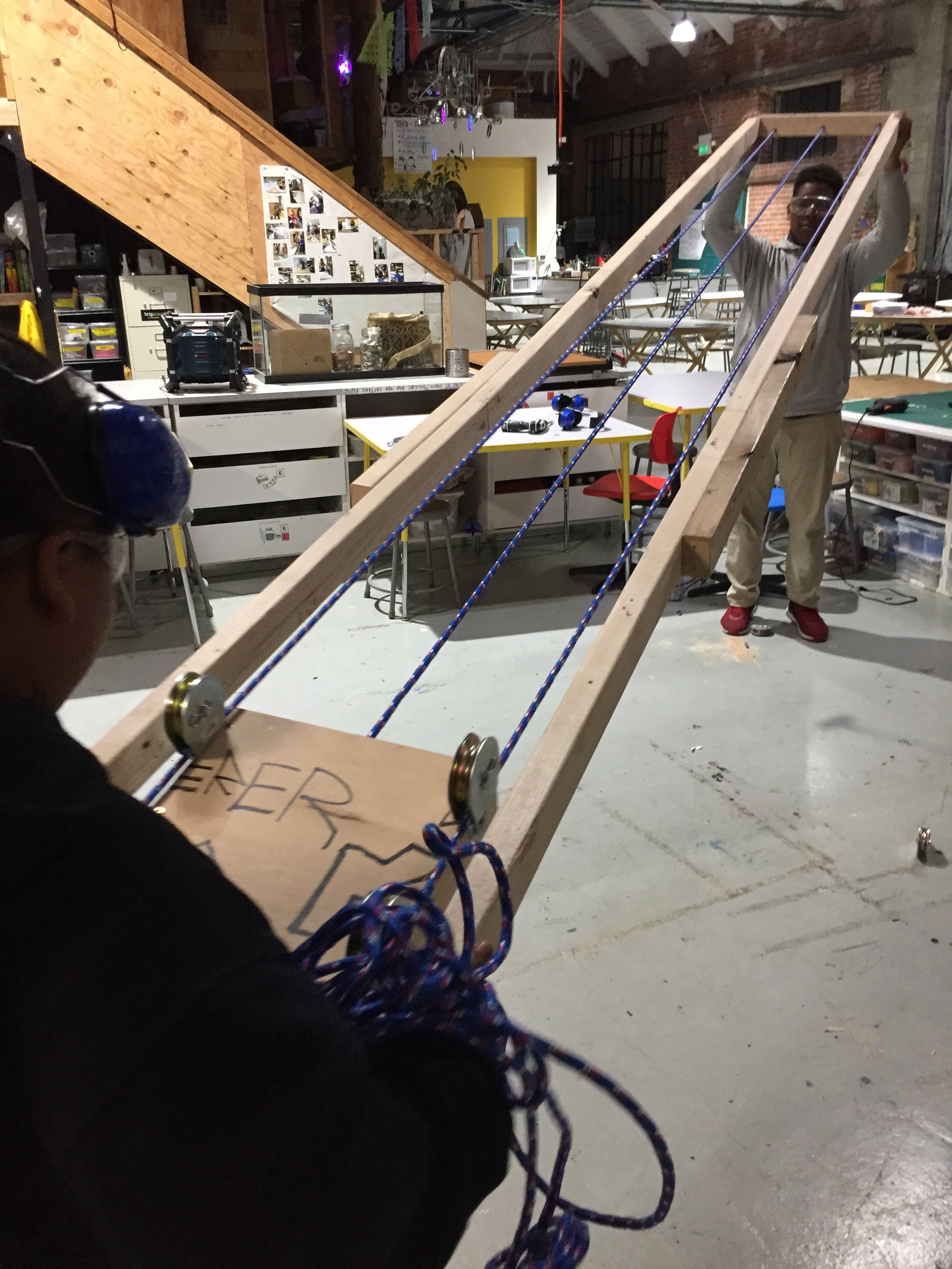 The car glided perfectly along the ropes! A successful test!
