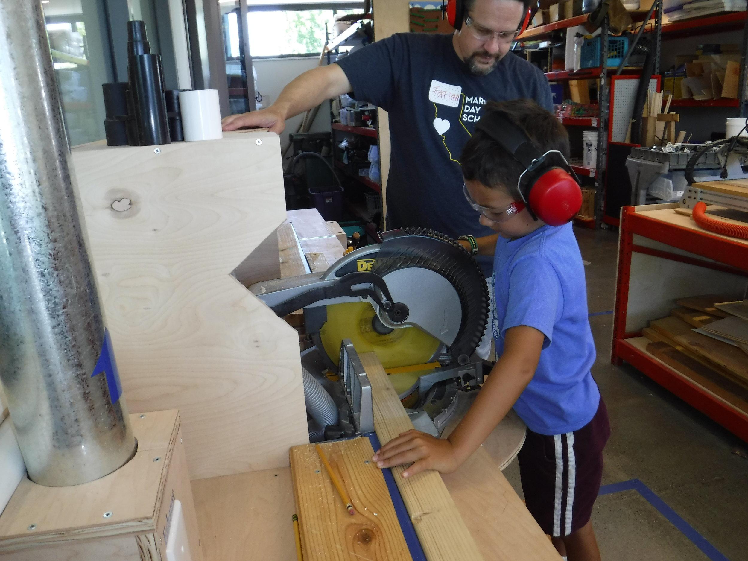 Cutting rollercoaster rails on the chop saw
