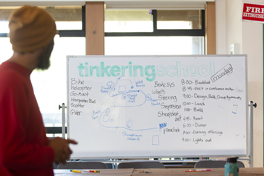 Collaborator, Sam, introduces the Tinkerers' theme for the week before teams break out for brainstorming their vehicle designs.
