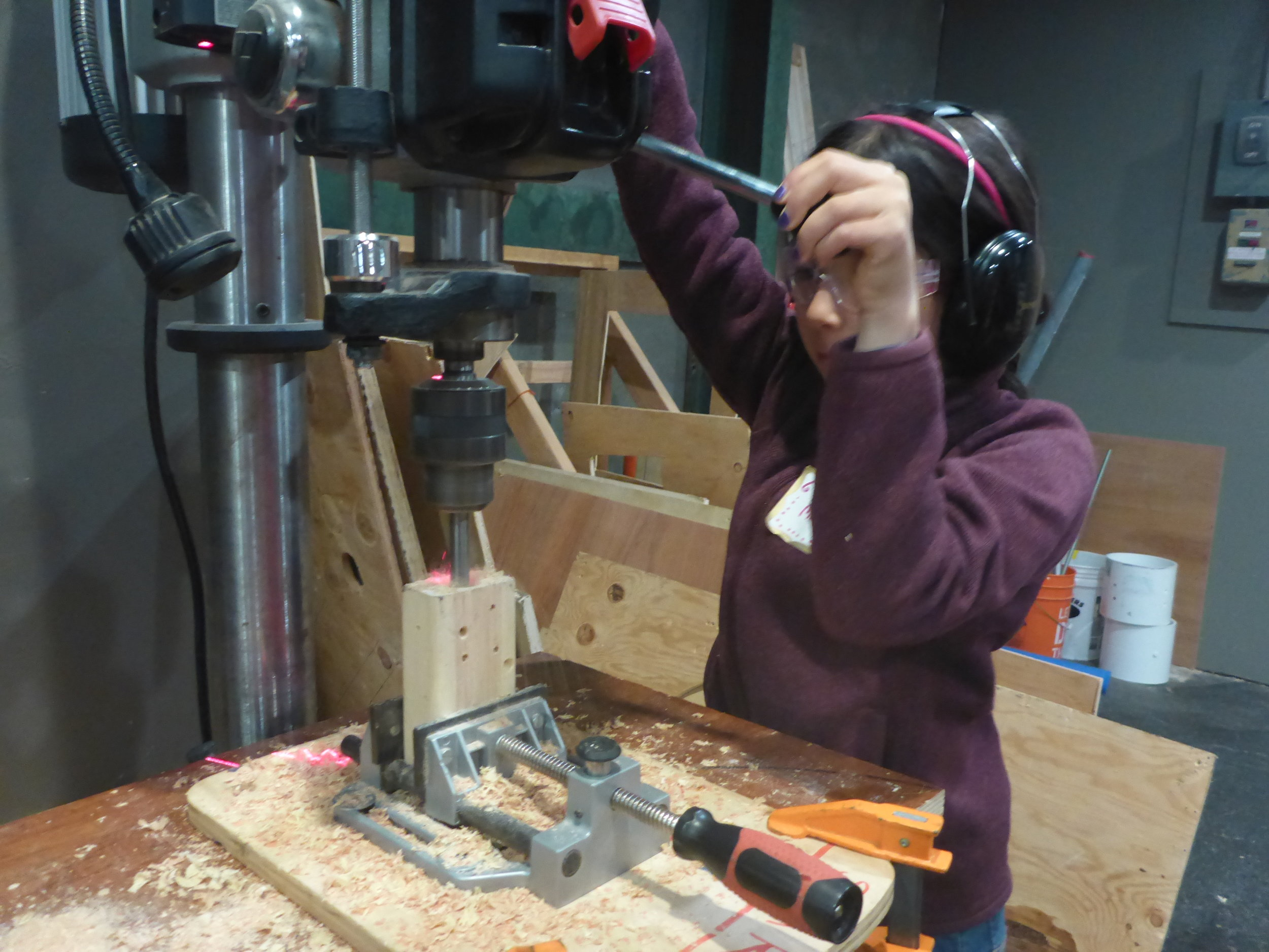 Many tinkerers are learning to use the drill press which allows us to make extra big and deep holes to hold car axles, for example.