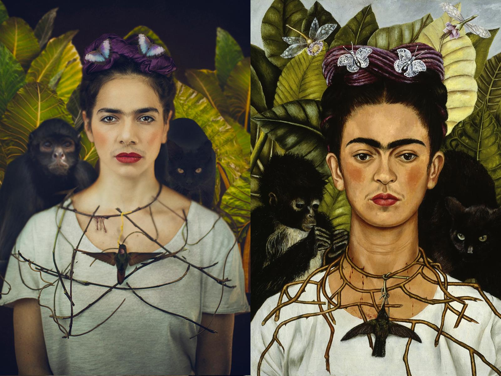 """Frida Khalo, """"autoritratto con corona di spine"""" (1940)"""