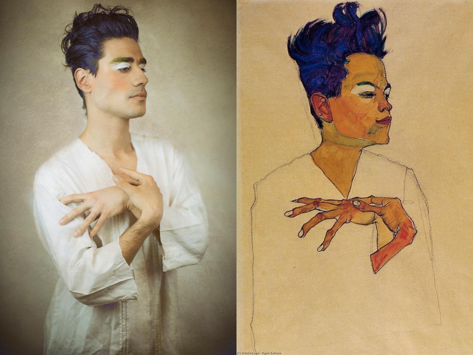 """Egon Schiele, """"autoritratto con mani sul petto"""" (1910)"""