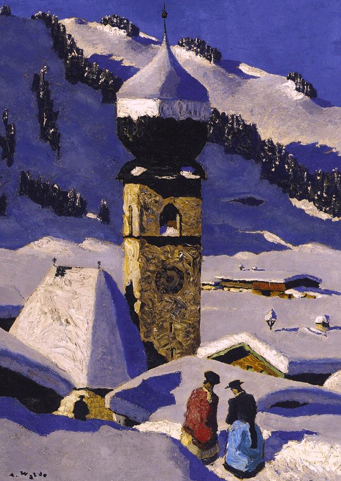 "Alfons Walde  (Oberndorf bei Kitzbühel 1891 - 1958 Kitzbühel)  Auracher Kirchl  Öl auf Karton  40 x 30 cm, gerahmt  links unten signiert ""A.Walde"""