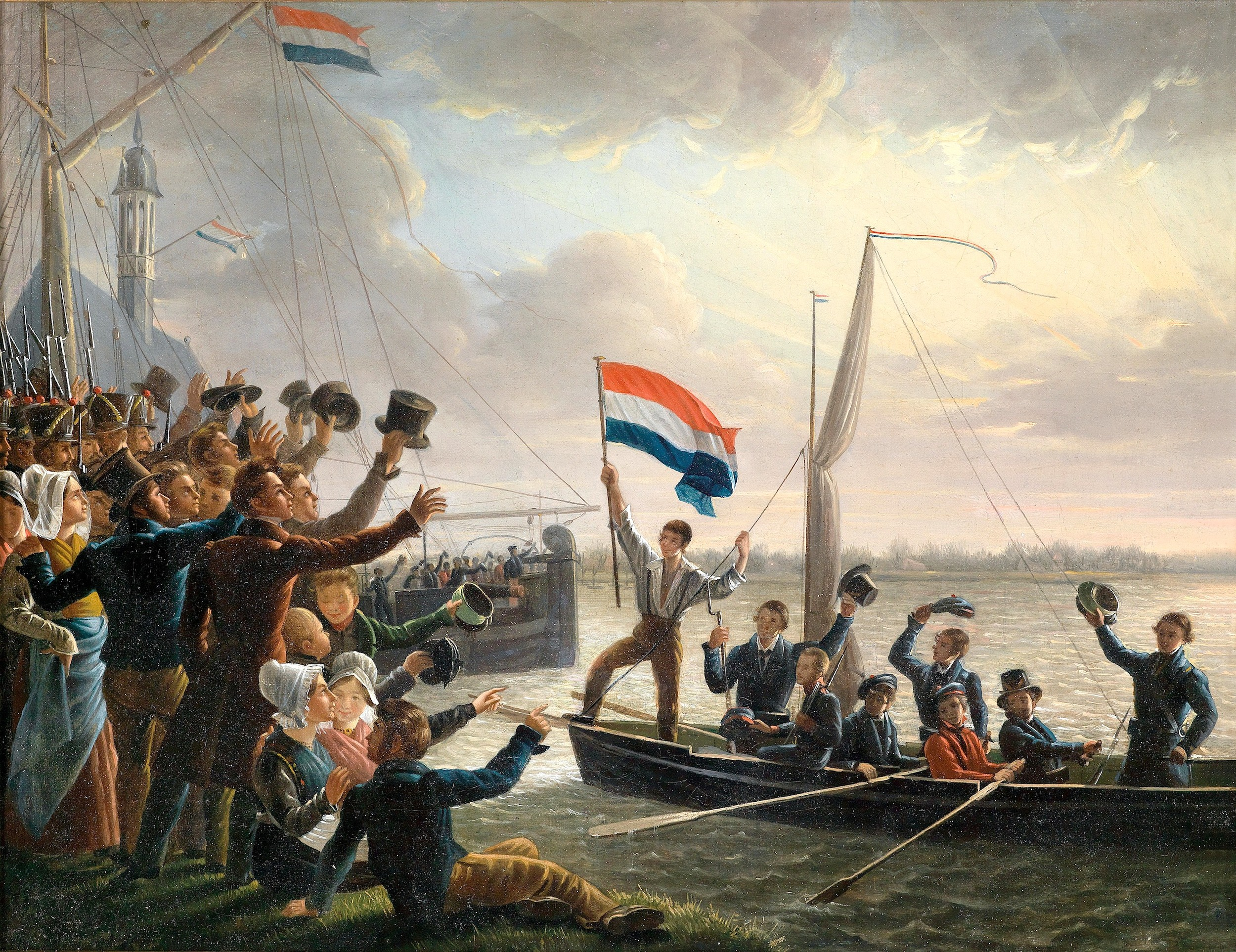 """Att. to  Dominicus Franciscus du Bois  (1800–1849)  The Return of Jacobus Hobein (1810–1888) on 19 March 1831  Oil on Canvas  29 x 37.5 cm, framed  Jacobus Hobein was a second class sailor who, on 19th of March 1831 and under strong enemy fire, rescued the Dutch flag and brought it back aboard his ship.  Compare to: """"The return of Jacobus Hobein on 19th March 1831"""", in the naval museum (Scheepvaartmuseum), Amsterdam, Inv. no. A0112/2"""