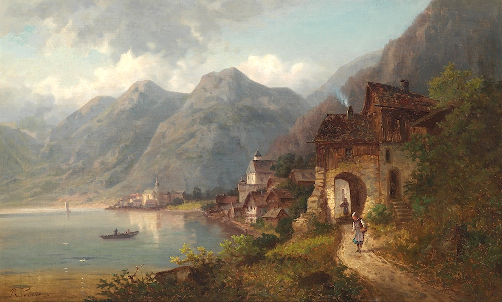 """Unknown Artist, 19th Century   Afternoon in Hallstatt  Oil on Canvas  approx. 55 x 90cm, framed  Signed and dated lower left """"JVaroni 84""""  Provenance: Private Collection, USA"""