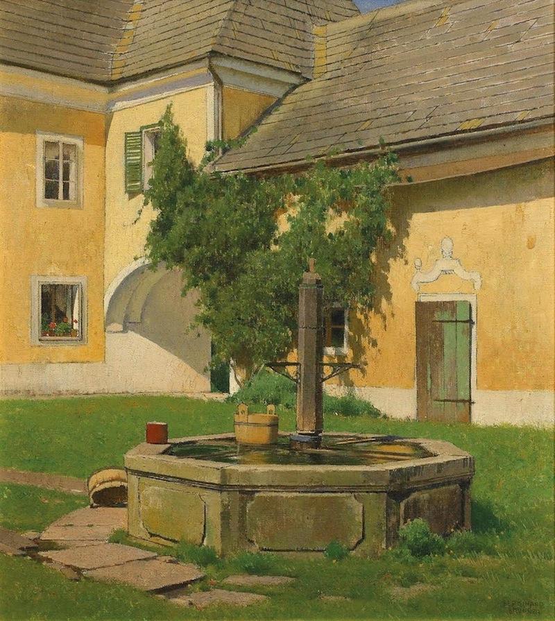 Ferdinand Brunner  (Wien 1870 - 1945 Wien)  Idylle im Innenhof  Öl auf Leinwand  ca. 40 x 35cm, gerahmt  rechts unten signiert