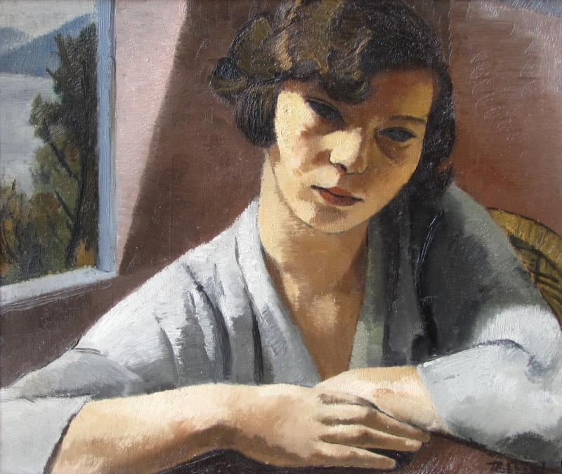 """Francois Zdenek Eberl  (Prague 1887 - 1963 Paris)  Berthe at the Window (approx. 1925)  Oil on Canvas  55 x 46 cm, framed  Signed lower right """"FZ Eberl""""  Provenance: Private Collection, France"""