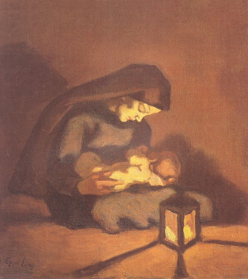 Albin Egger-Lienz  (Lienz 1868 - 1926 St.Justina, Bozen)  Madonna mit Kind (um 1920)  Öl auf Karton  60 x 55cm, gerahmt  l.u. signiert