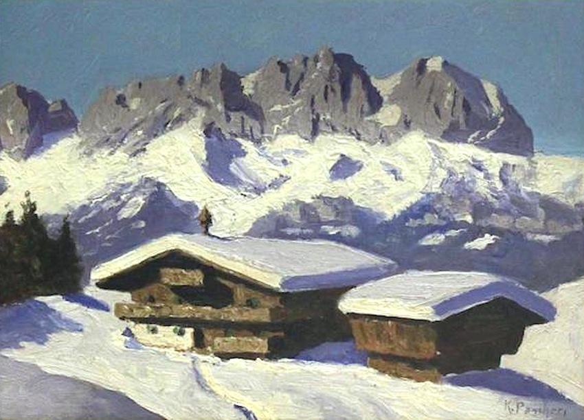 """Karl Pancheri  (1907 - 1956)  Winterlandschaft (Wilder Kaiser bei Kitzbühel)  Öl auf Karton  23 x 32cm, gerahmt  rechts unten signiert """"K. Pancheri"""""""