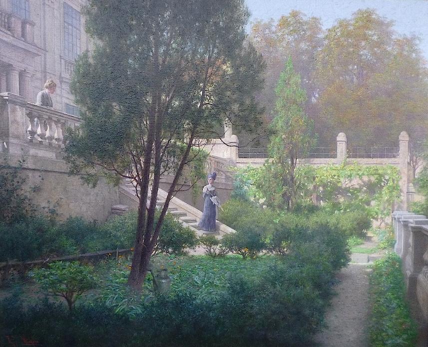 """Raimund Ritter von Wichera  (Frankstadt 1862 – 1925 Wien)  Abschied im Schlosspark  Öl auf Leinwand  70 x 86 cm, gerahmt  signiert """"R. R. v. Wichera"""""""
