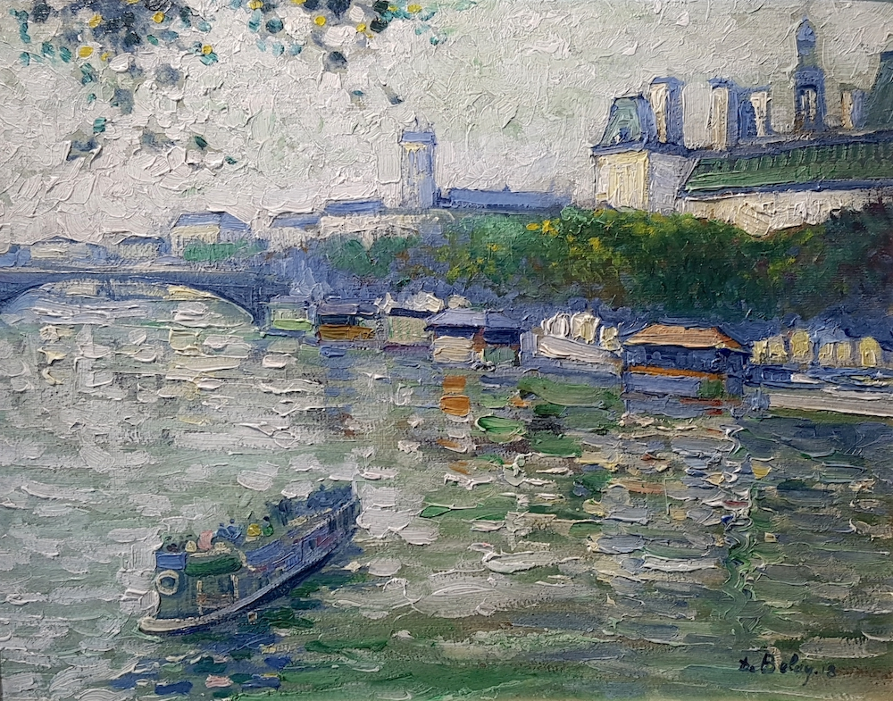 Pierre DE BELAY  (Quimper 1890 - 1947 Ostende)  An der Seine, Paris (1918)  Öl auf Leinwand  ca. 32 x 40cm, gerahmt  rechts unten signiert de Belay '18