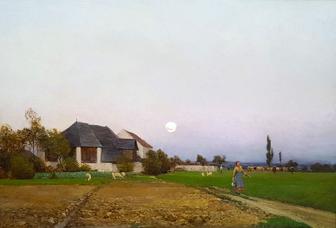 Carl Moll  (Vienna 1861 – 1945 Vienna)  Landscape (Plankenberg)  Oil on Board  41,7 x 63,5 cm  signed and dated 1890  Provenance: Galerie Helbing München, 1909  To be accepted into the upcoming catalogue raisonné by the Belvedere, Vienna.