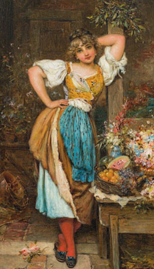 Hans Zatzka  (Vienna 1859 - 1945 Vienna)  Flowergirl  Oil on Wood  24 x 13,5 cm  Monogrammed lower left: H.Z.  Provenance: Private Collection Karl Sochor, Vienna