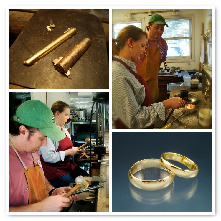 Rene and Joe worked hard and did an EXCELLENT job on their yellow gold rings in my workshop!