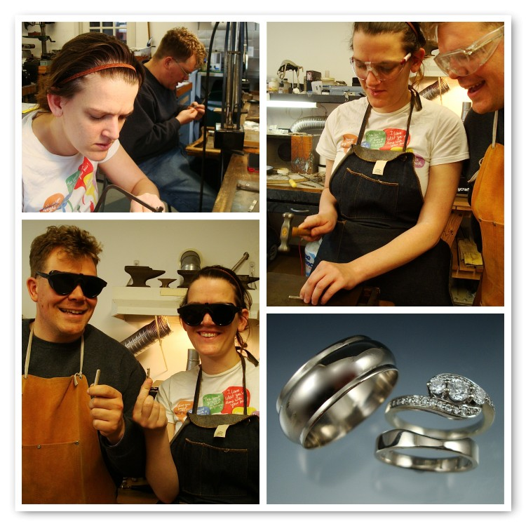 Sarah and Travis made 14k white gold rings! We carved Sarah's ring to fit her special engagement ring.