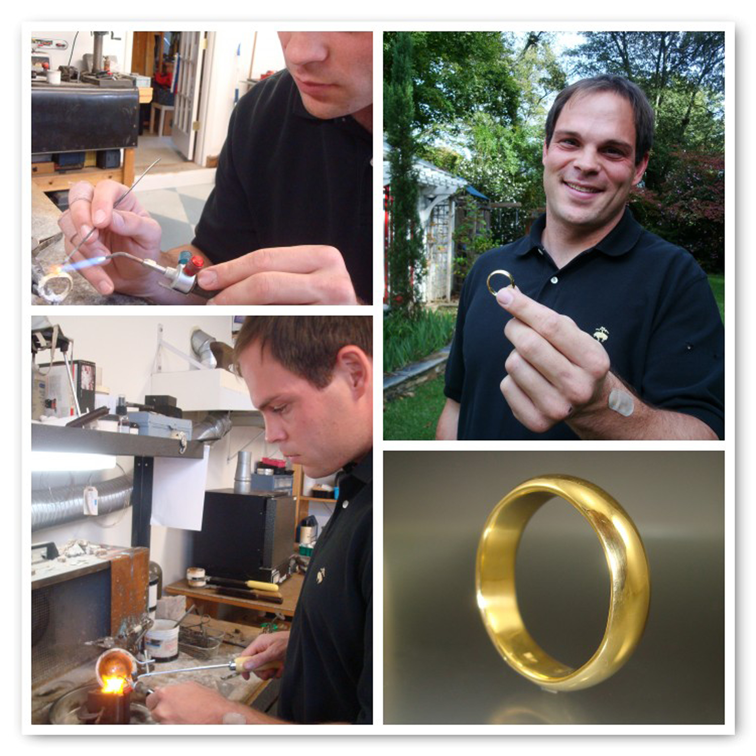 Stephen traveled 475 miles to melt reclaimed gold from a family heirloom into his wedding band!