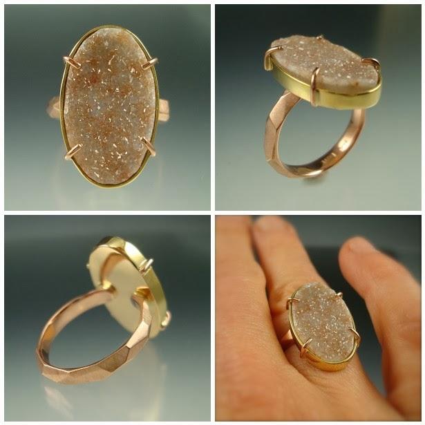 Rx3 week #2 - Peach Druzy Chiseled Ring: Druzy quartz, 14k rose gold, 14k & 18k yellow gold