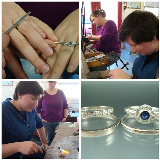 Ashley and Courtneymade simple, polished palladium rings so they wouldn't over power their lovely engagement rings.