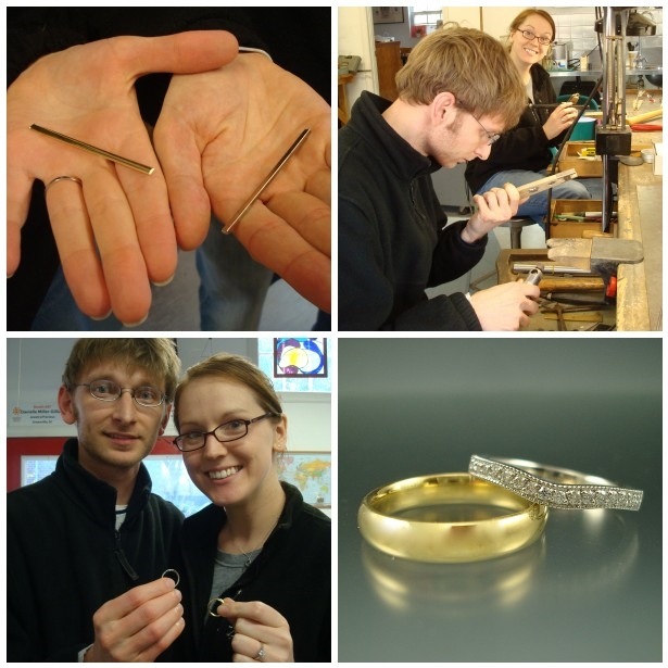Greg made Kim's platinum wedding ring and Kim made Greg's 18k gold wedding ring. Danielle added the pavéd diamonds