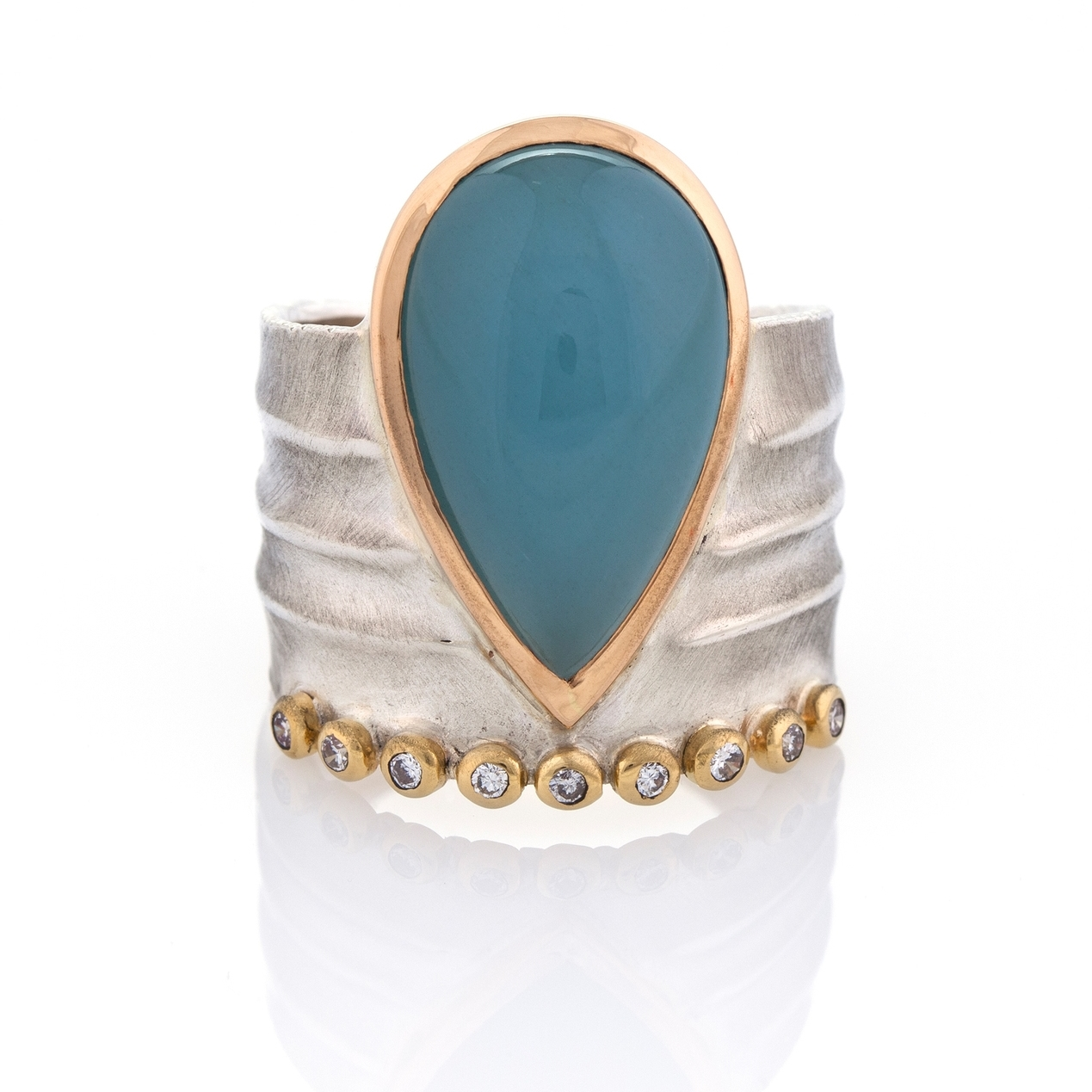 Aqua Crown Ring by Danielle Miller Jewelry : aquamarine, diamonds, sterling, 14k & 18k gold.
