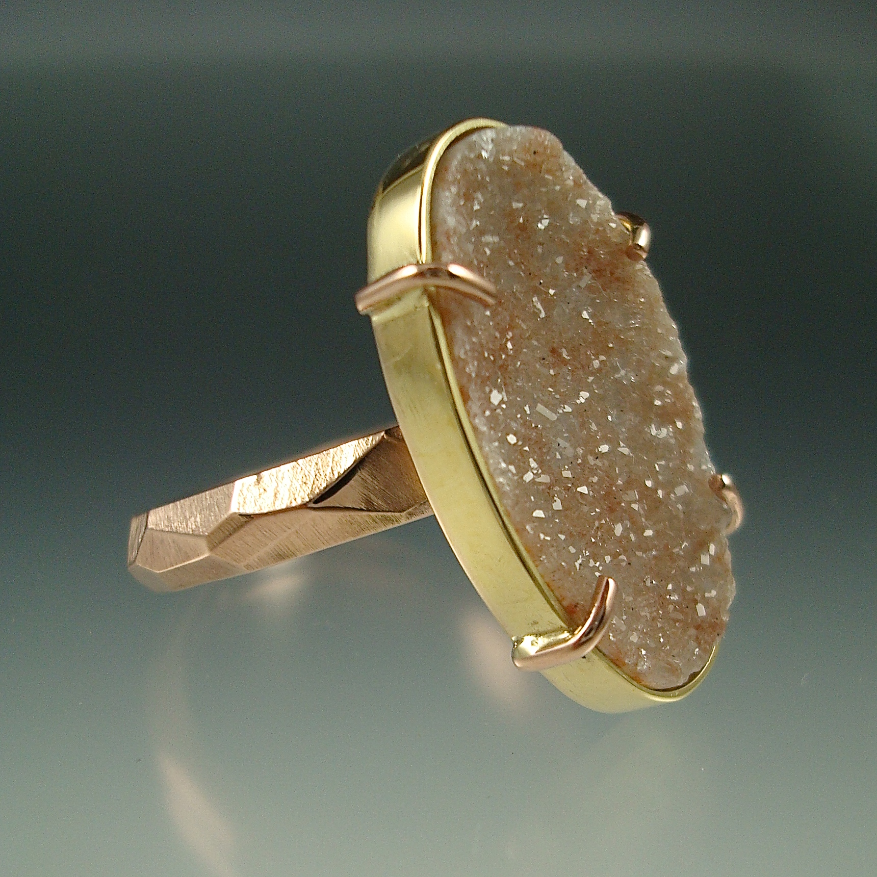 Peach Drusy Chiseled Ring