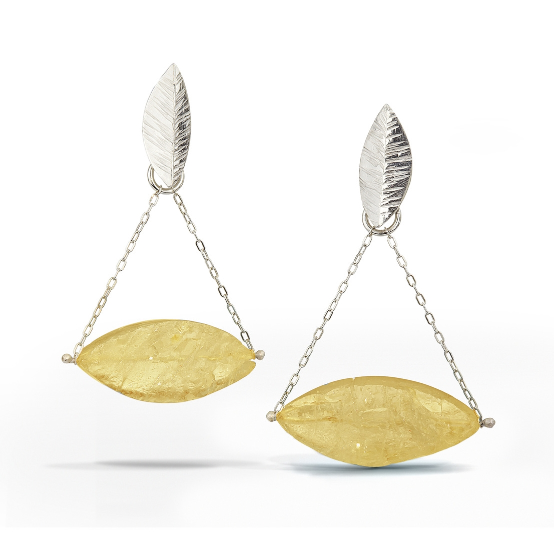 Citrine - Raw Surface Chandelier Earring