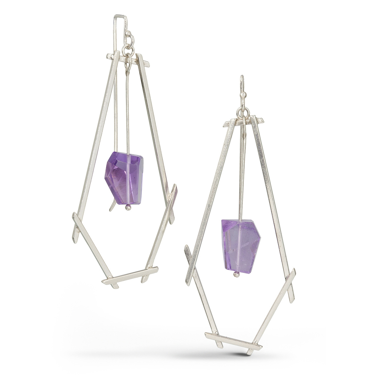 Long Sticks And Stone Earrings with Amethyst
