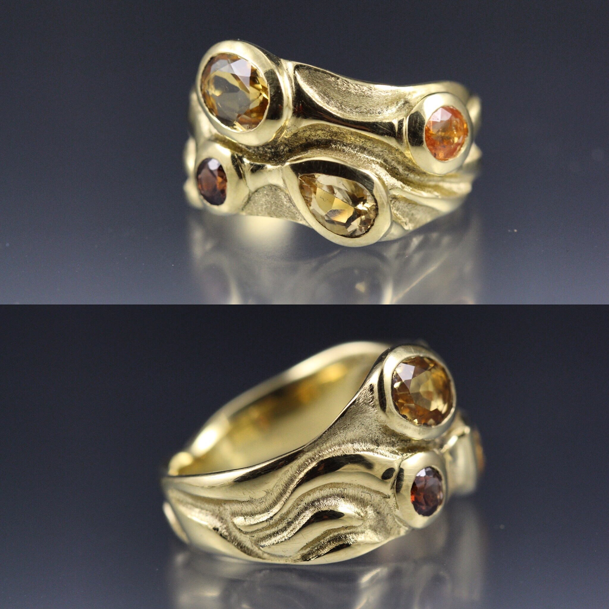 18k gold custom made ring using customer's heirloom stones by Danielle Miller Jewelry