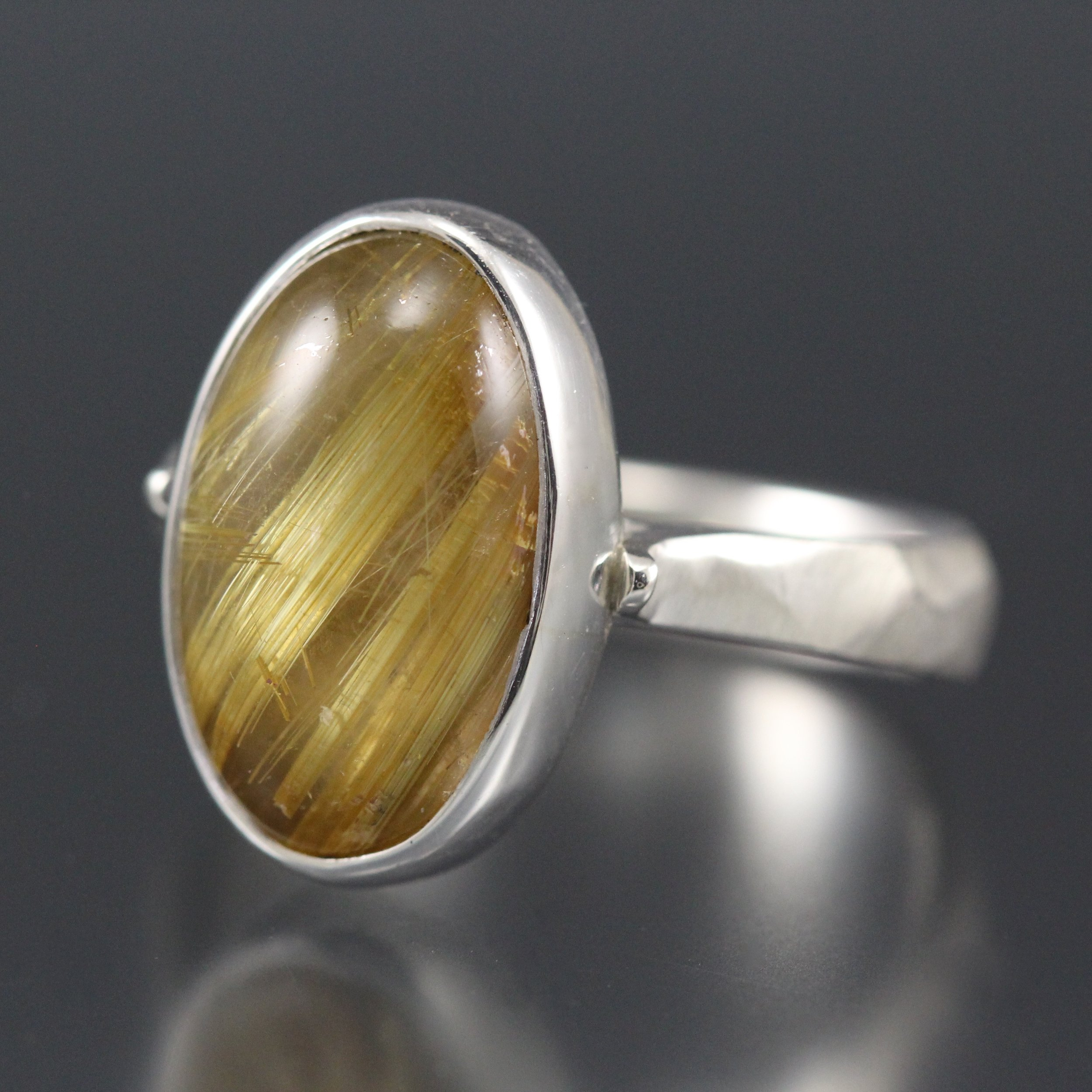 Golden rutile quartz and sterling silver ring
