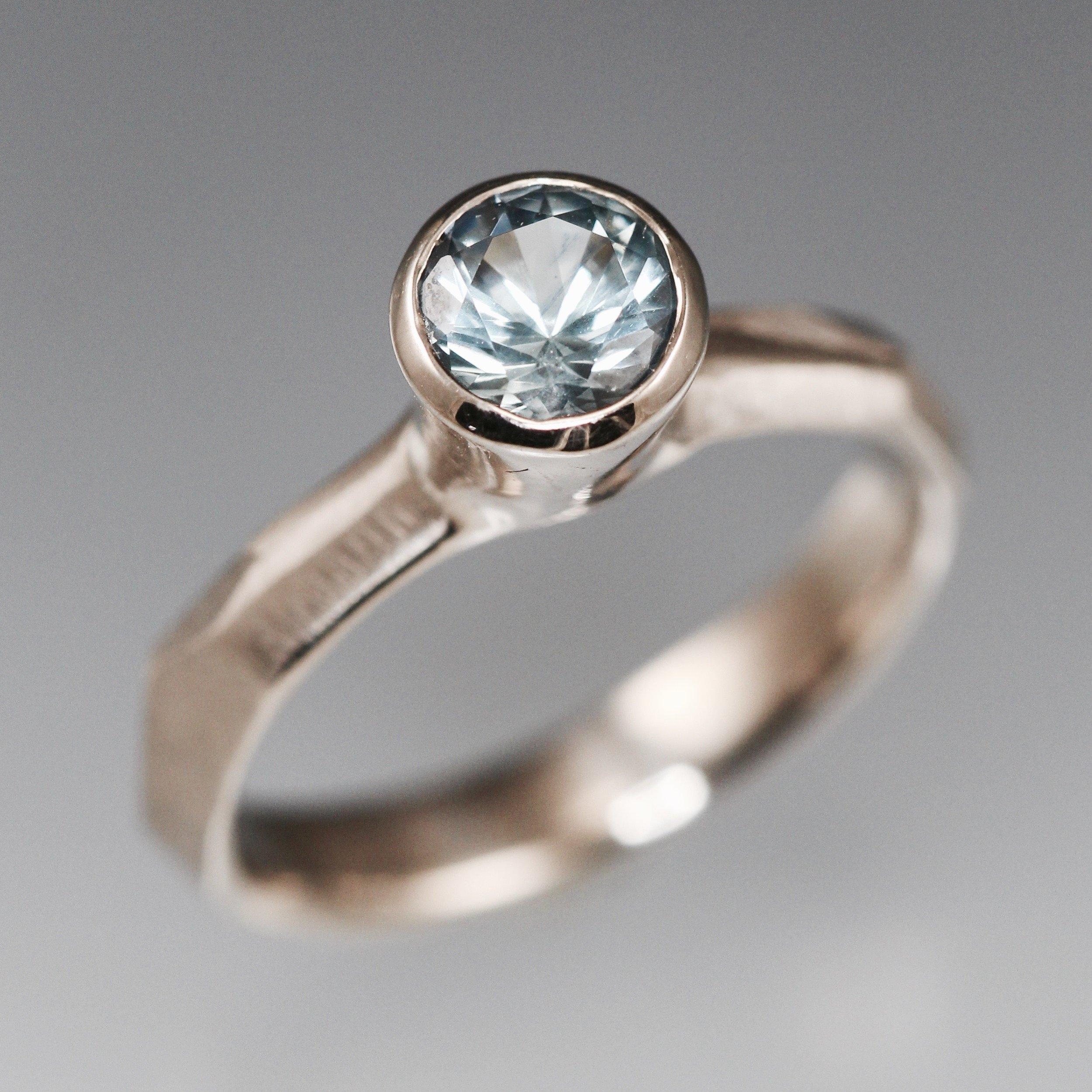 Montana blue sapphire and 14k white palladium gold