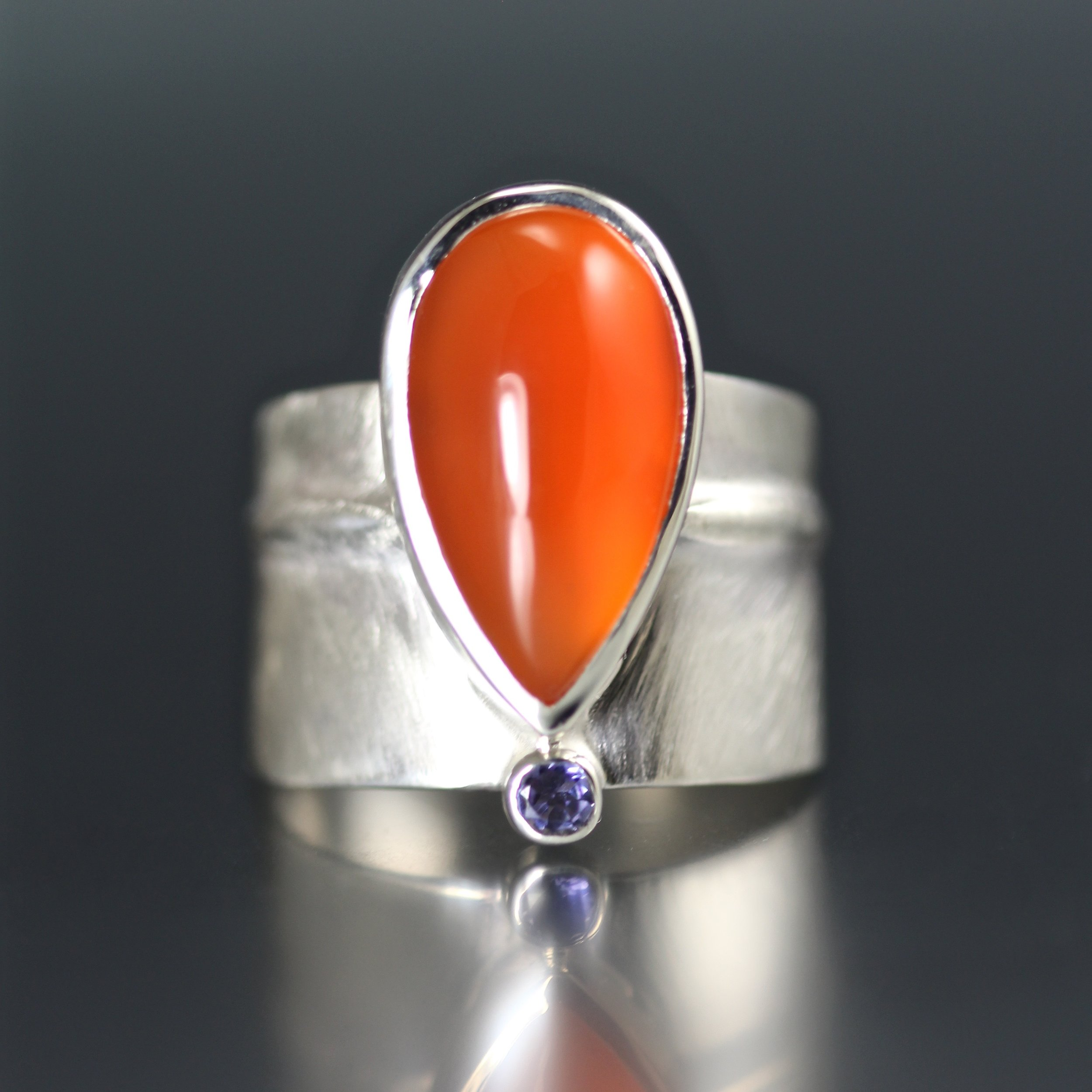 Carnelian and Iolite Ridge Ring