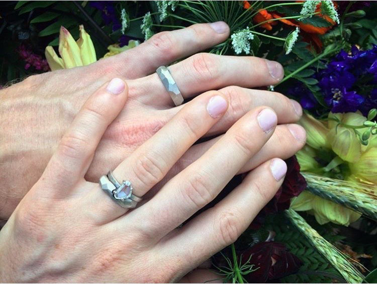 Aaron & Shannon's palladium rings made by Danielle Miller Jewelry. Photo credit: Jeff Woodward.
